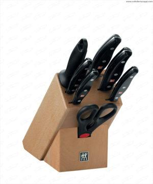 Ceppo di coltelli, legno naturale, 8 pz