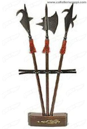 Set tre alabarde con espositore in legno