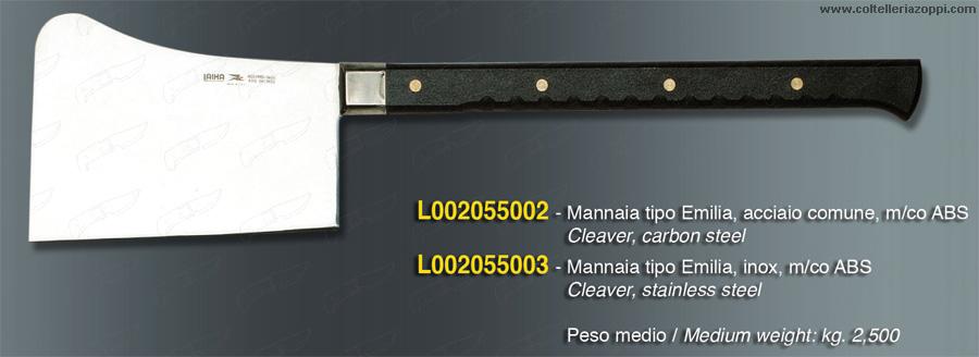 Mannaia tipo Emilia in acciaio Inox - 2.5Kg