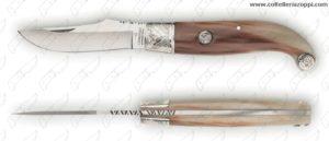 CONAZ - Fiorentino in Corno di Bue con Testina in Argento 20cm