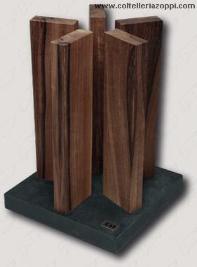 KAI - Ceppo Portacoltelli Magnetico Stonehenge in Noce per 10 Coltelli