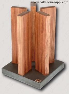 KAI - Ceppo Portacoltelli Magnetico Stonehenge in Red Wood per 10 Coltelli